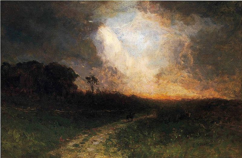 Landschaft mit Mann auf Pferd von Edward Mitchell Bannister 1884