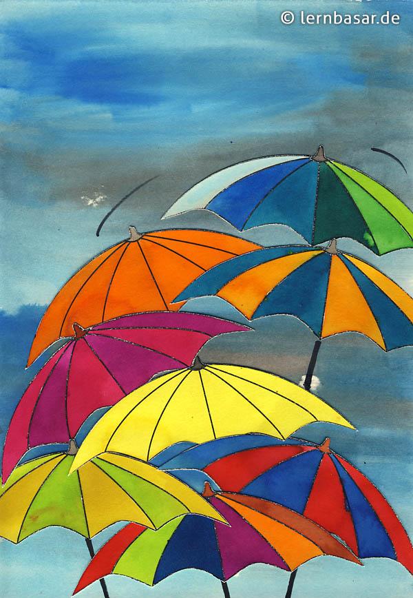 Ausmalbilder Herbst Regenschirm
