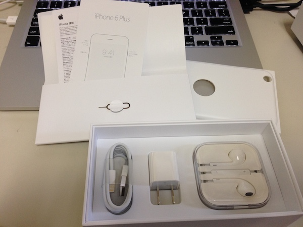 The rest of the contents of the iPhone box - lightning cable, adapter and ear buds.