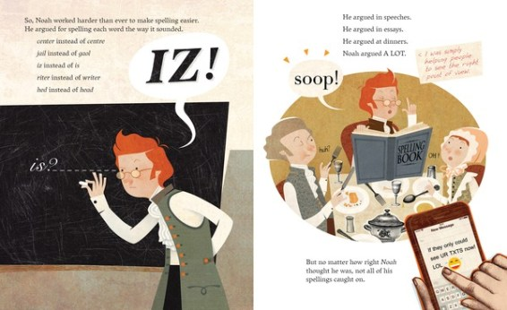 Noah Webster's Fighting Words nonfiction picture book spread