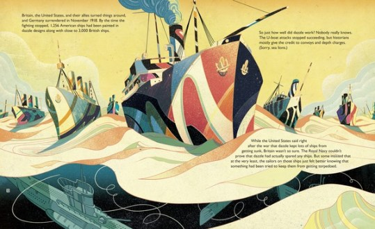 Dazzle Ships nonfiction picture book spread