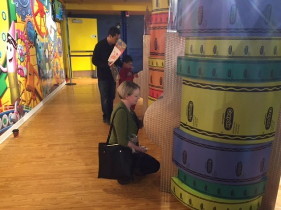 Jenny making her own Crayola crayon at the Crayola Experience