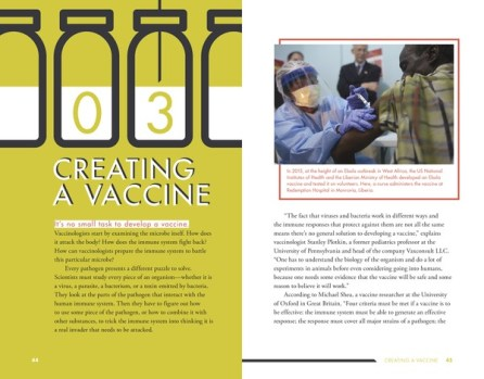 spread from YA nonfiction title Vaccination Investigation