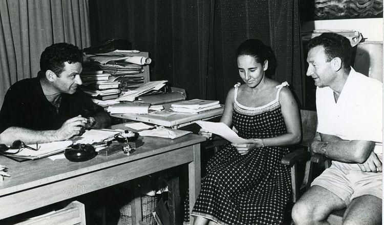 Otto_H._Oren,_Eugenie_Clark,_Adam_Ben-Tuvia,_1962