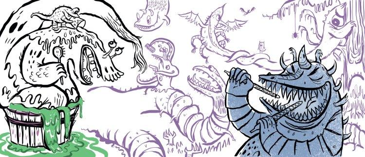 Frankenstein spread sketch by Timothy Banks