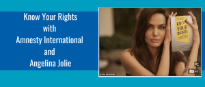 Angelina Jolie holding the book Know Your Rights