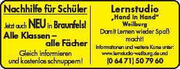 """Weilburg und Braunfels """"Hand in Hand"""""""