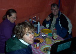 Tracey, Jas and Craig get ready to enjoy some of Crystal's french  toast.