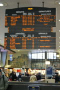 The electronic board for arrivals and departures.