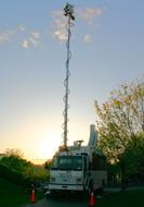 The CJOH truck with its mast deployed.