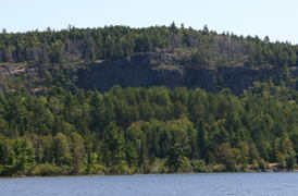 What the cliff we visited looks like from a few kilometers away.   See?  It would have been a long fall.