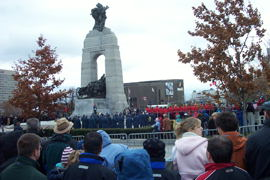 The band at the monument & a choir.