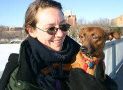 Tracey and Boing, who (as usual) doesn't look all that pleased,  but it sure beats having her paws on the cold sidewalk.
