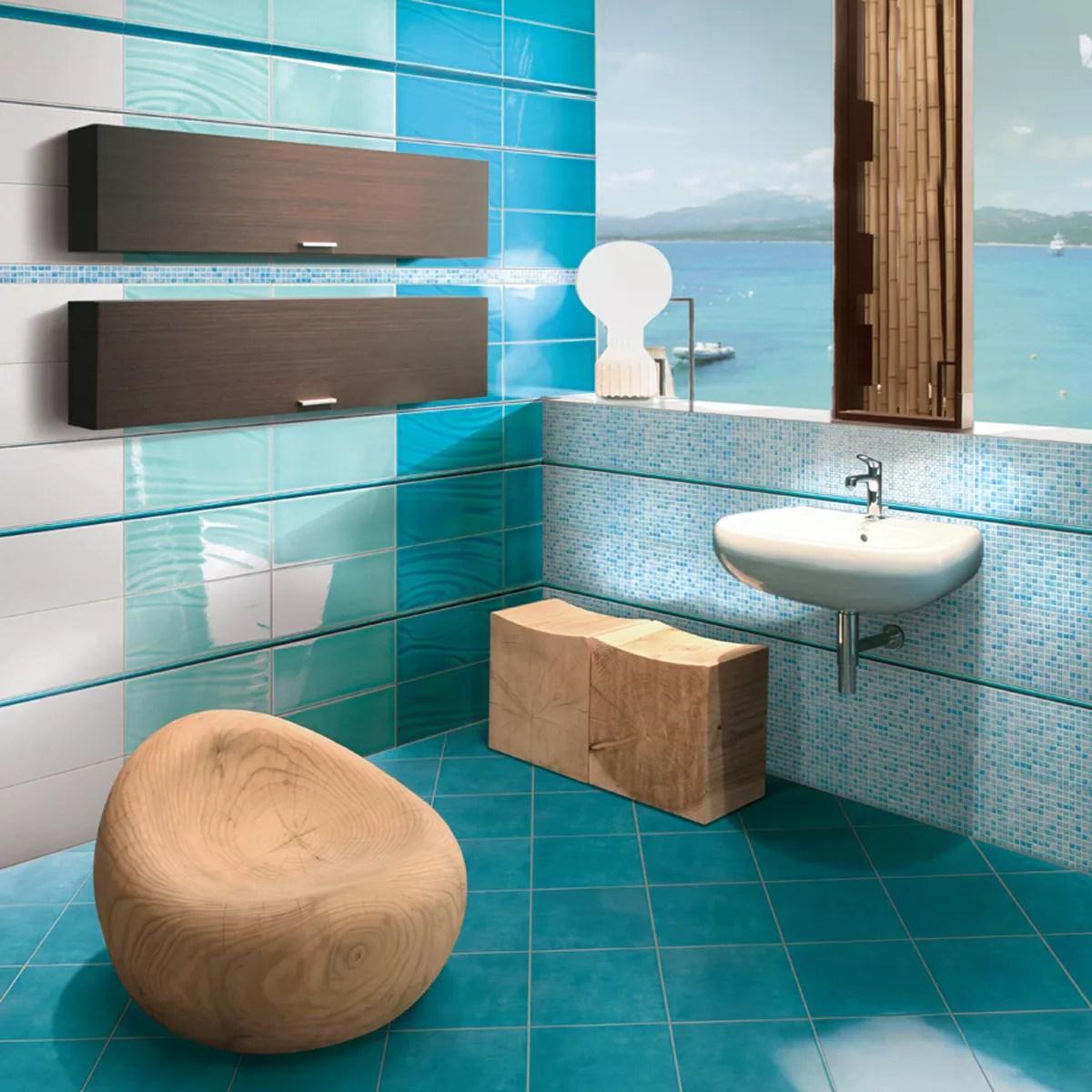 Bagno rivestimento azzurro rivestimento bagno con mosaico e