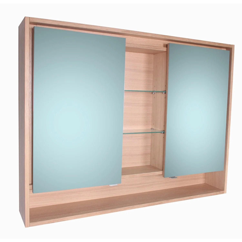 Armoire De Toilette Lumineuse L 120 Cm, Imitation Chêne