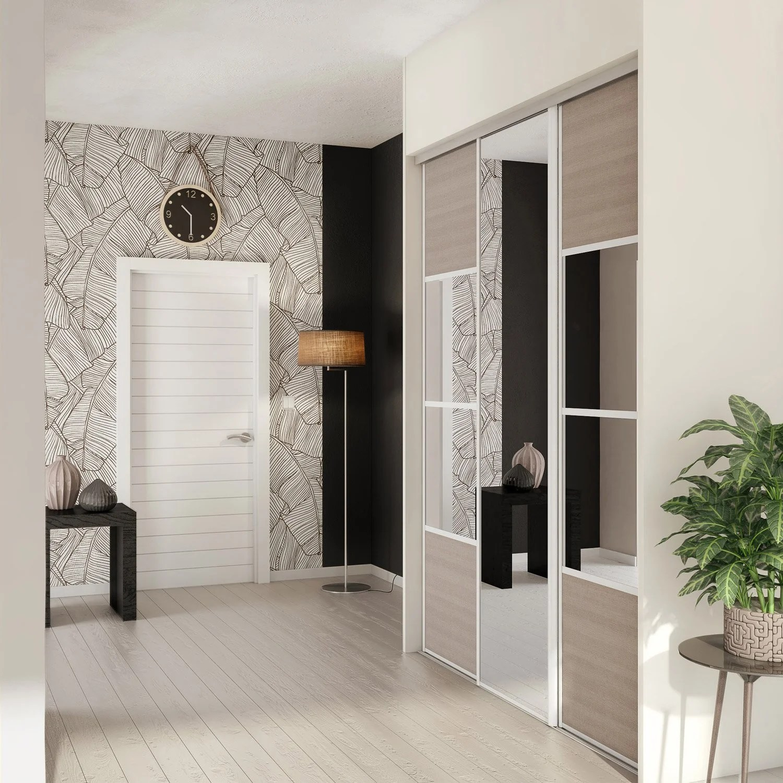 Porte De Placard Coulissante Magnolia  Miroir Spaceo L67