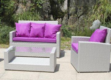 Salon De Jardin Gris En Plastique   Table Et Chaise Resine Tressee ...