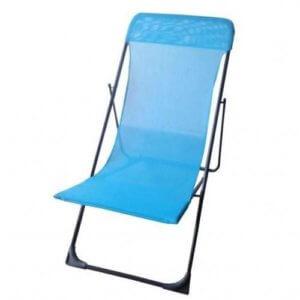 chaise longue pliante pour plage et jardin bleu garantie 1 an