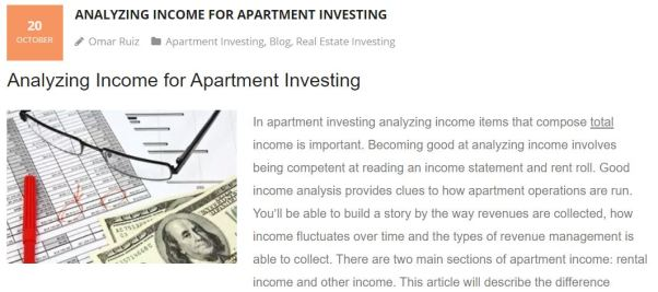 Income for apartment investing