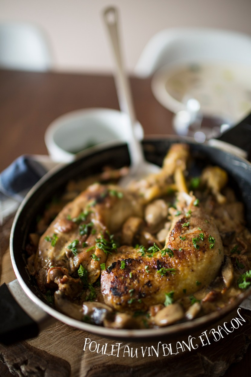 Poulet au vin blanc et Bacon Photo Web
