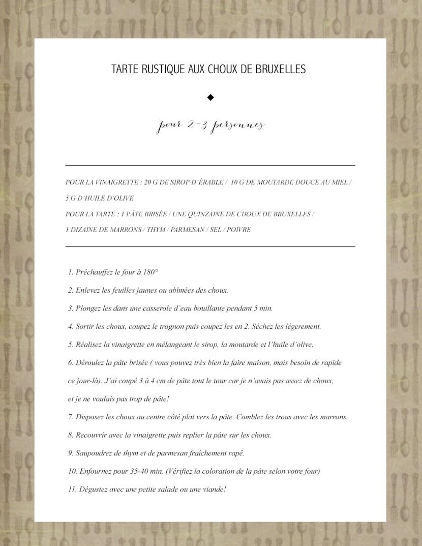 Recette Article 28 - Tarte rustique Choux de bruxelles