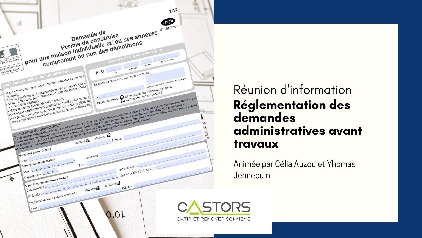 Réunion d'information en ligne : Réglementation des demandes administratives avant travaux (Permis de Construire,...)