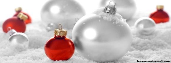Boules de Noël rouge et blanches- Photo de couverture journal Facebook