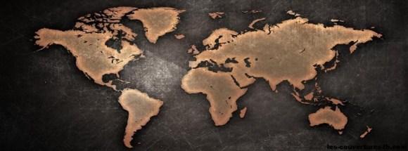 map monde marron -Photo de couverture journal Facebook