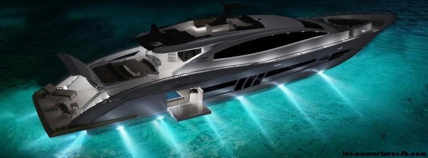 Sublime Yacht de nuit-Photo de couverture journal Facebook