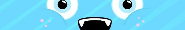 Yeux et bouche sur fond bleu Couverture Facebook