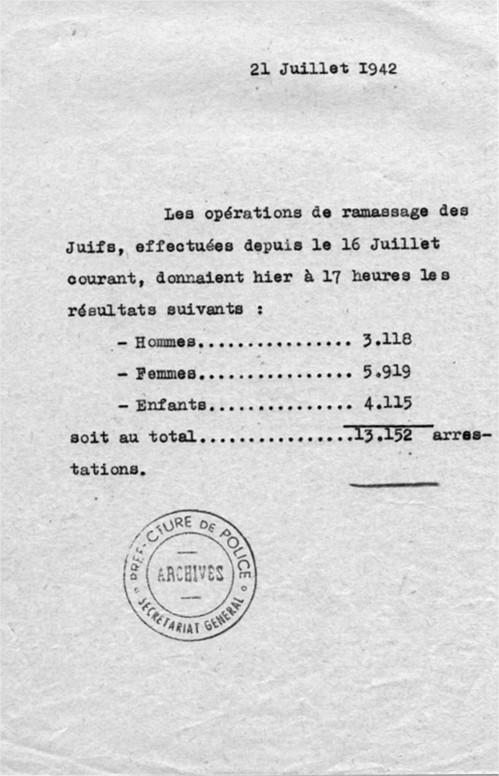 Rafle Du Vel D'hiv Témoignage : rafle, d'hiv, témoignage, 16-07], Rafle, D'Hiv, Crime, Administratif