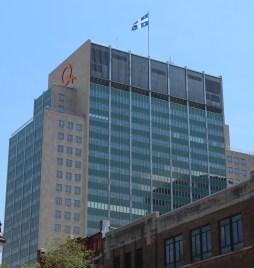 Le bâtiment d'Hydro-Québec. Hydro-Québec est responsable de la production, du transport et de la distribution de l'électricité au Québec.