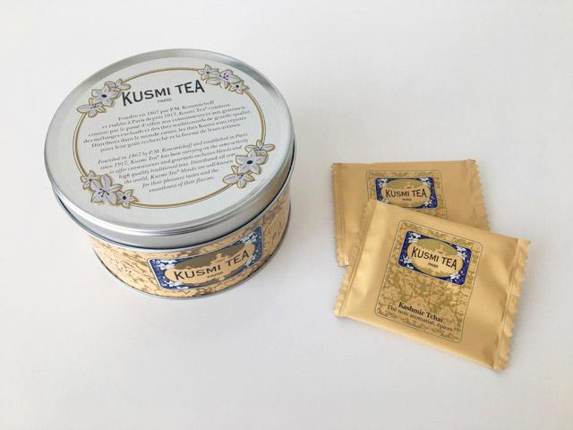 クスミティー,カシミールチャイ,125g 缶と個包装されたティーバッグ,KASHMIR TCHAÏ,KUSMI TEA,