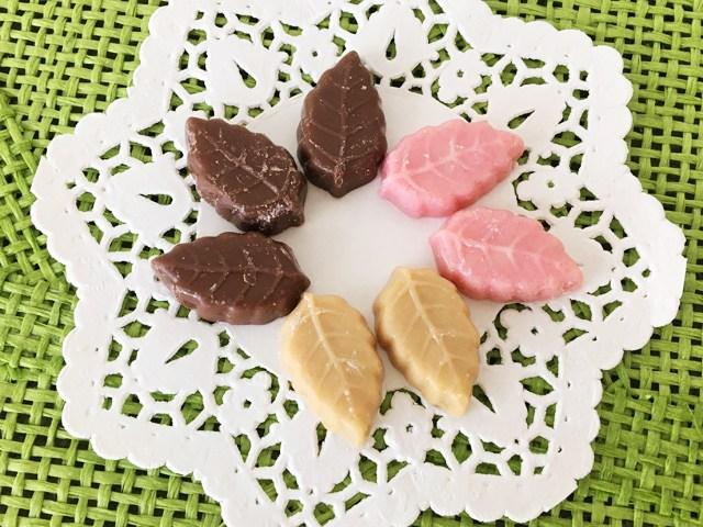 リーフメモリー,クランベリー、キャラメル、ミルクの葉っぱのチョコ,桃の巾着,モンロワール,