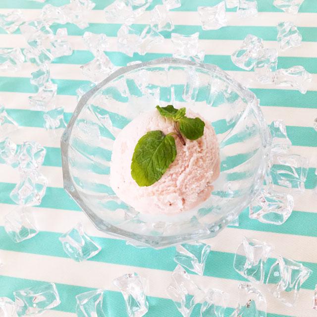 十勝ドルチェ,十勝白い牧場アイスクリーム,アイスグラスに入れたストロベリーアイス,