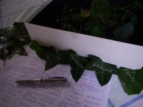 Ecrire les noms sur des feuilles