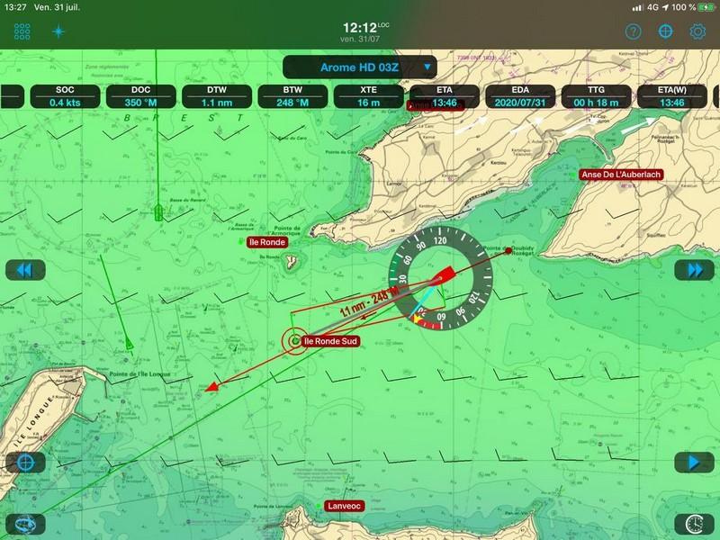 écran de l'Ipad en navigation