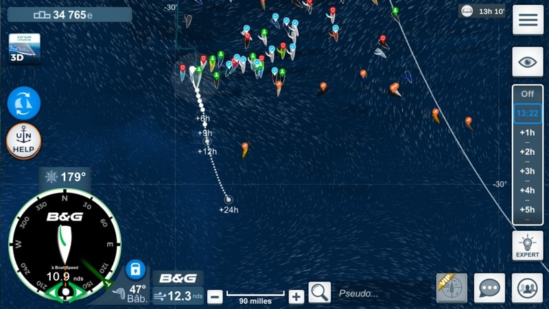 réglage du mode vent dans virtual regatta
