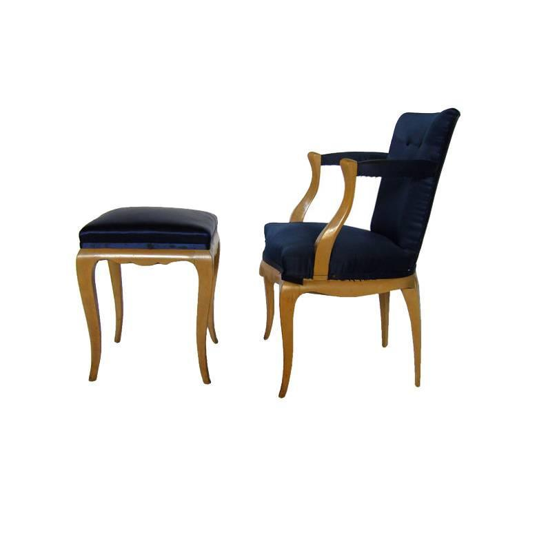 chair and matching stool ikea price fine french 1940s armchair conjeaud chappey 1566fauteuiletsonpouf newthumb z