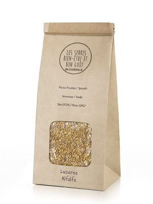 Nos semences de Luzerne biologiques et sans OGM, vous pouvez maintenant vous les procurer en plusieurs formats et faire vos pousses à la maison.