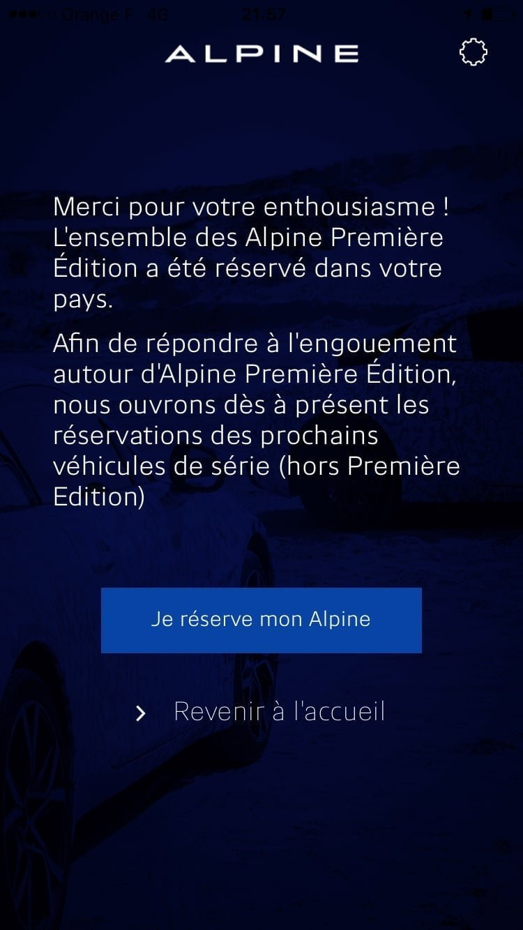 Réserver Alpine A110 iOS Android iTunes mobile - 8