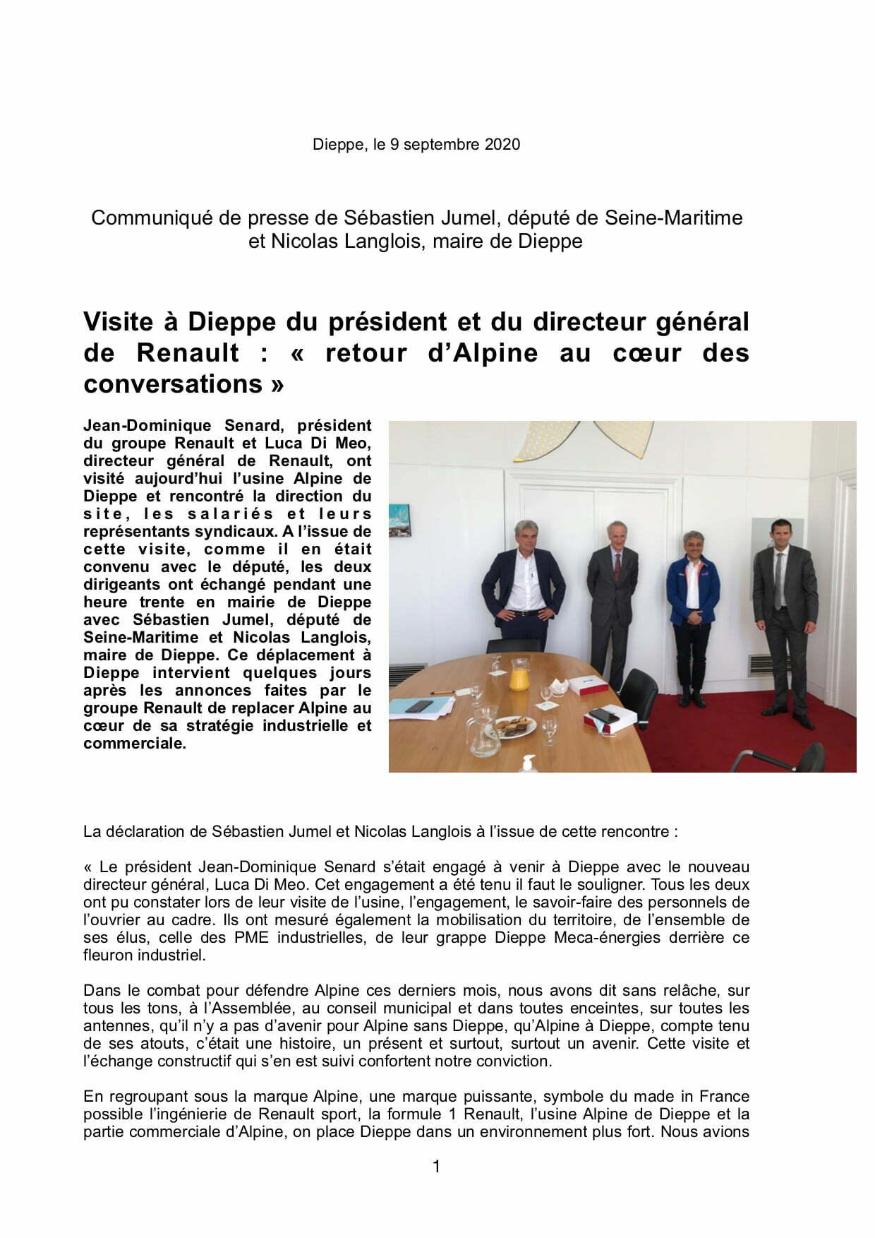 Compte rendu Sebastien Jumel 9 Septembre 2020 1 | Usine Alpine de Dieppe: la visite surprise de Luca De Meo