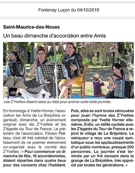 Article Ouest France 2018-10 Z'Yvettes
