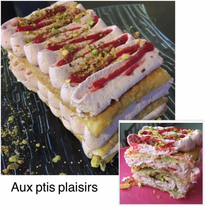 Millefeuille framboise-pistache