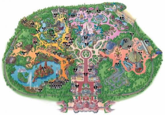 "Carte des ""Hidden Mickey"" à Disneyland Paris."
