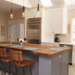 Kitchen Block Modern Lights Walnut Butcher Les Armoires Seguin Cabinets
