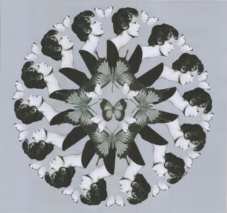 Black and white paper collage with a round composition of the well-known portrait of Marella Agnelli by Richard Avedon combined with butterflies, 2016