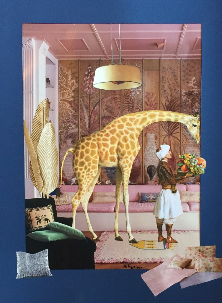Paper collage of a giraffe and its custodian in the elegant living room of the sultan's palace in Istanbul, 2016