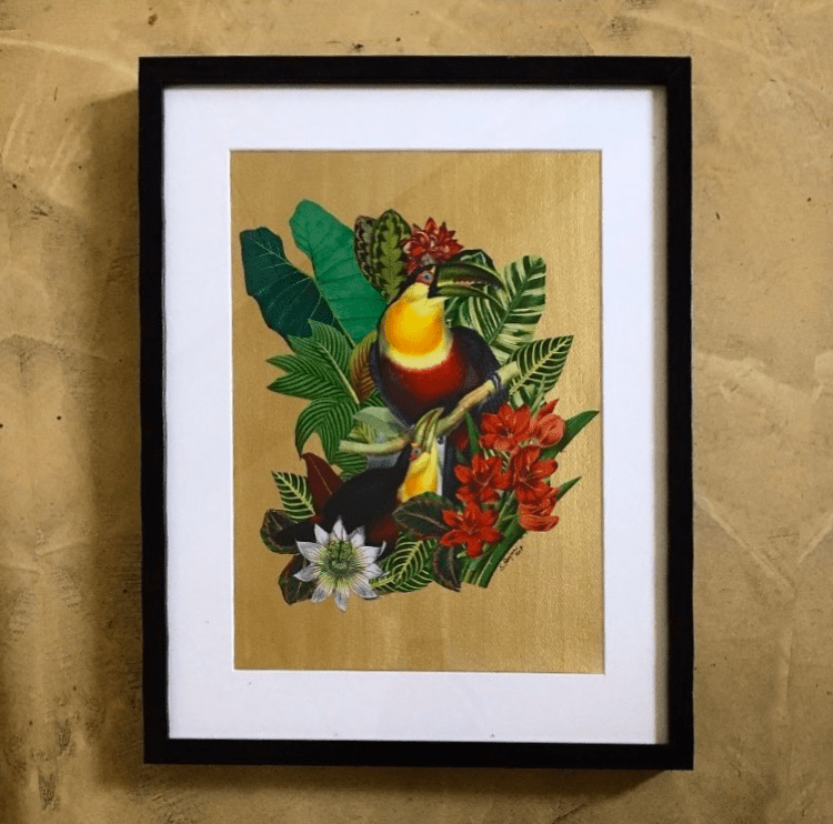 Paper collage with a tropical scene of toucans among leaves. Gold acrylic back, 2017