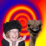 woman and ostrich in feathered hat with psychedelic background
